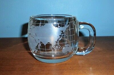 Nestle Advertising World Globe 8 Oz. Clear Etched Glass Handled Coffee Mug