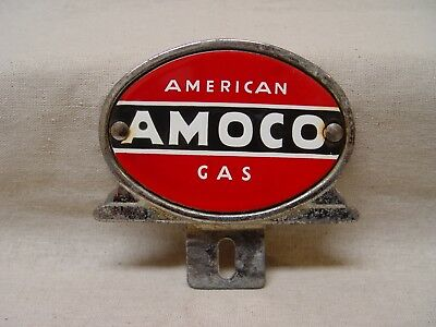 AMOCO American Gas Co. Chrome Metal License Plate Topper With Porcelain Center