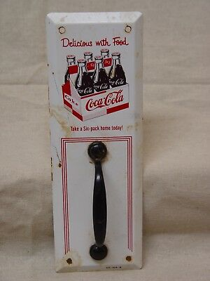 Coca-Cola Six-Pack Bottles Delicious With Food Advertising Door Pull Sign Scioto