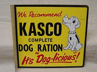 Kasco Dog Ration Pet Food 2-Sided Vintage Advertising Flange Sign With Puppy