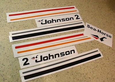 Johnson Sea Horse 2 HP Outboard Decal Set Die-Cut FREE SHIP + Free Fish Decal!