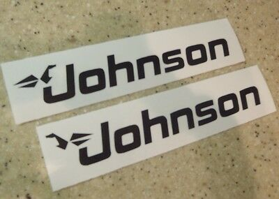 "Johnson Vintage Outboard Motor Decals 6"" Black FREE SHIP + FREE Fish Decal!"