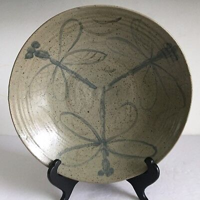 """Painted DRAGONFLY Hand Thrown Vintage SOLVEIG COX Studio Pottery BOWL 10 3/4"""""""