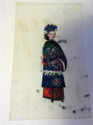 ANTIQUE 19th Century CHINESE PITH RICE PAPER MINIATURE PAINTING - Orientall Lady