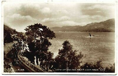 Early Real P/postcard . Crowds Watching Loch Ness Monster . Scotland . P/u 1934