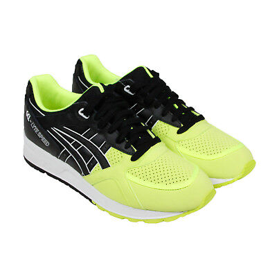 Asics Gel Lyte Speed Mens Yellow Black Leather Sneakers Lace Up Shoes 42.5