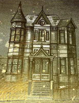 RON MORANO ETCHING 'VICTORIAN HOUSE' METAL ZINC 11x14-INCHES VINTAGE BEAUTIFUL!