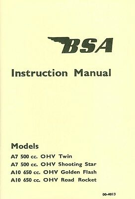00-4078  BSA A7 A10 Manual Shooting Star Golden Flash Super Rocket 1958-onwards