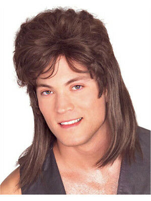 Adult Brown Mullet Joe Dirt Grunge Rocker Costume Wig