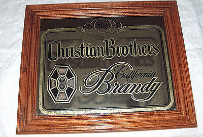 """The Christian Brothers SF California Brandy Framed 24"""" Bar Mirror Man Cave Sign"""