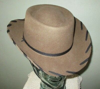 M & F Western Products Kids size L Brown COWBOY HAT 100% Wool Rodeo  whipstitch