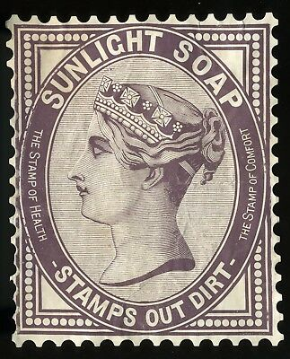 Large Die Cut Postage Stamp, Queen Victoria Image, Sunlight Soap Stamps Out Dirt