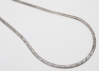 "STERLING SILVER Italian Diamond-Cut Herringbone Chain 20"" Designer Necklace"