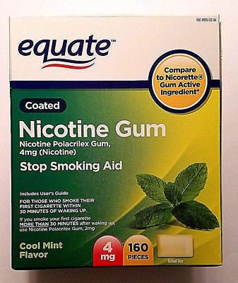New Equate Coated Nicotine Gum, 4mg, Cool Mint, 160 Pieces, Exp 11/2019