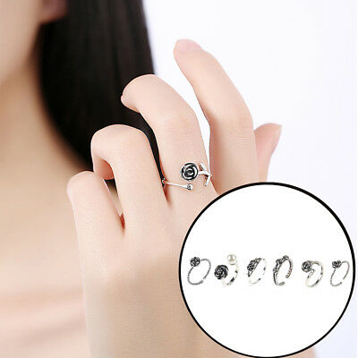 Unique Design Retro Ladies Girls Silver Plated Rose Flower Band Adjustable Ring