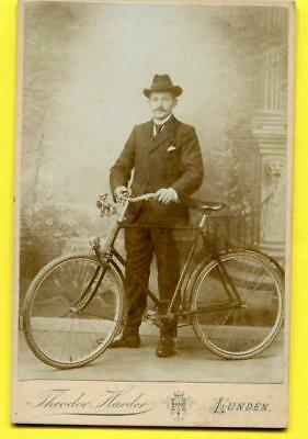 Real Photo Cabinet Card 1896 German Man/Bicycle w/Bell Gas Operated Headlight