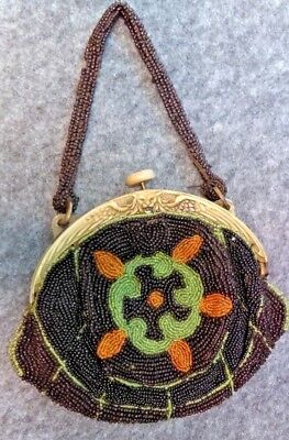 Antique Beautiful Beaded Purse Early 1930's Tri-Color Bead Work Rare Clasp