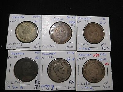 A89 Colombia 50 Centavos 1913 1916 2 pcs 1922 1932 1947 Mixed Group 6 pcs Total