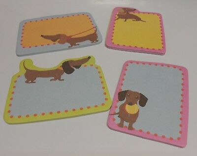 Set of 4 DACHSHUND WEINER DOGS Sticky Note Pads Notes - 4 Different Designs  NEW