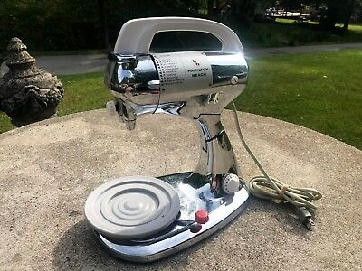 Vintage Chrome Hamilton Beach  Model K Electric Hand Mixer & Stand No Beaters