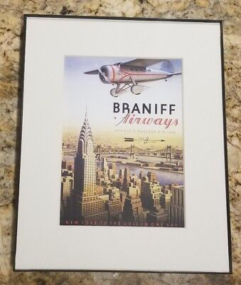 BRANIFF Airways NEW YORK TO THE GULF COAST IN ONE DAY FRAMED PICTURE