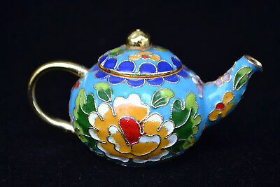 Chinese Old cloisonne flower little teapot Exquisite handwork blue usable