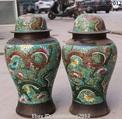 Old Antique Chinese Dynasty Palace Wu Cai Porcelain Dragon Pot General tank Pair