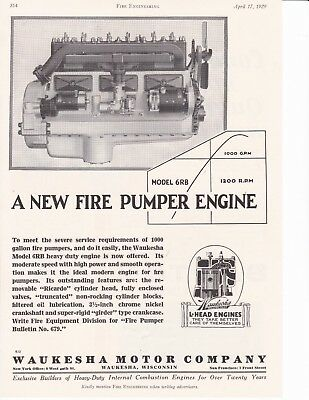 Waukesha Fire Pumper Engine 1929 Ad                     7018
