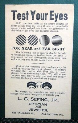 antique SEFING OPTICIAN JEWELER POSTCARD allentown pa EYE TEST glasses