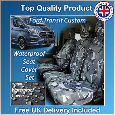 FORD TRANSIT CUSTOM 270 TREND SEAT COVERS CAMOUFLAGE CAMO BLUE HEAVY DUTY 2-1