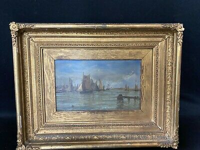 WONDERFUL ORIGINAL OIL PAINTING by EDWIN HAYES 1920-1904 BOAtS IN GORLSTON HABOR