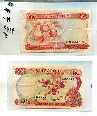 Singapore 1973 $10 Currency Note Vf 9140J