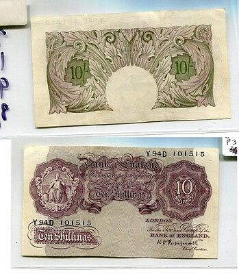 Great Britain 1948 10 Shillings Currency Note Vf 7198G