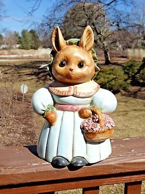 """Rabbit Cookie Jar - 12"""" Tall Cookie Keeps Over & Back Inc. Portugal"""