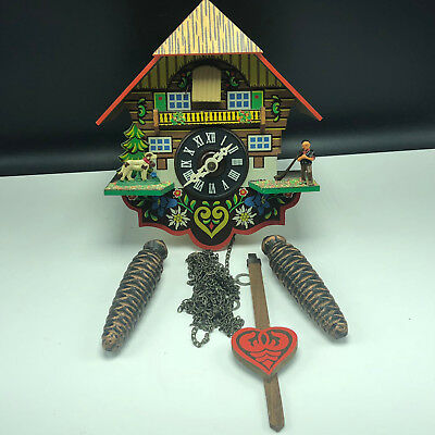 VINTAGE BLACK FOREST CUCKOO CLOCK weights chimes germany autumn leaves bird dog