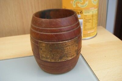 small wooden barrel made from the wood of h.m.s ganges