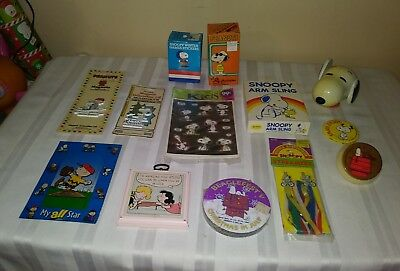 13 Vintage Snoopy/ Peanuts Collectibles, Stickers, Magnets,arm Sling Etc.