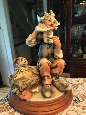 Capodimonte Redaelli Clown Figurine W/Dog. (Italy)