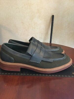 COLE HAAN GREEN LEATHER & CANVAS-LOAFER SHOES, Red SOLES, US MENS 10 M Slip-on