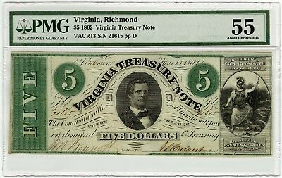 1862 Commonwealth of Virginia Richmond 5 Dollar PMG 55 Treasury Note