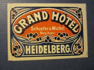 Old Vintage - Grand HOTEL - HEIDELBERG - Luggage LABEL - Germany