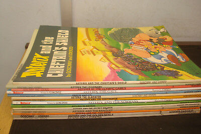 Set of 14 Paperback Asterix Books, Mixed condition, Paperbacks