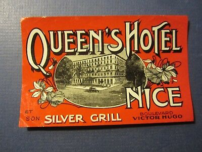 Old Vintage - Queen's HOTEL - NICE - Luggage LABEL - Silver Grill - FRANCE