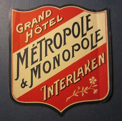 Old Vintage Grand HOTEL METROPOLE MONOPOLE Luggage LABEL INTERLAKEN Switzerland