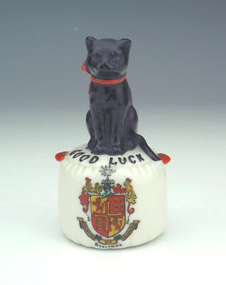 Willow Art Crested China - Lucky Black Cat Figure - Boscombe Crest