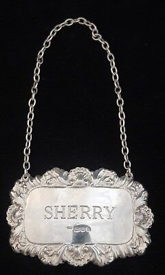 c1973 London Sterling Silver Sherry Wine Decanter Label Richards & Knight