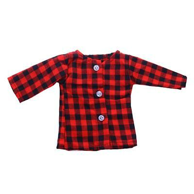 Plaid Long Sleeve T-shirt for American Girl Our Generation 18'' Doll Clothes