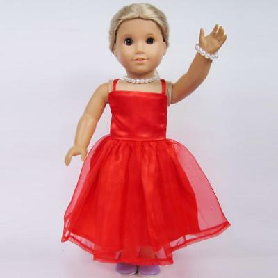 Red 2 Layers Skirt Dress for American Girl Our Generation 18'' Doll Clothes