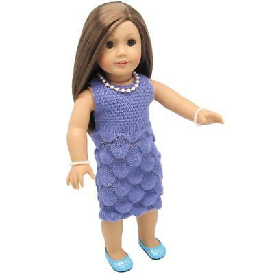 Doll Clothes Purple Sweater Dress for 18'' American Girl Our Generation Doll