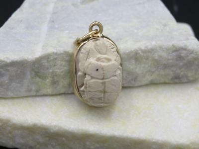 Vtg 14k Yellow Gold Egyptian Faience Hieroglyphics Scarab Rebirth Amulet Pendant